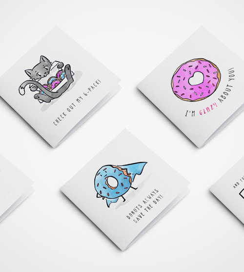 Custom Designed Donut Card Series for Doornuts NZ